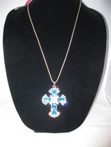 NEW Betsey Johnson Big Rhinestone Turquoise Cross Pendant on lo... - $24.50