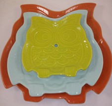Set of 3 Owl Shaped Decorative Ceramic Serving Snack Plate Candy Dish - $29.69