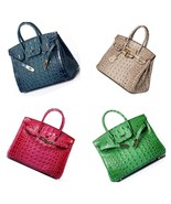 35 cm Crocodile Embossed Italian Leather Birkin Style Handbag Shoulder B... - $174.95