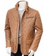 QASTAN Men's New Great StyleTan Quilted Sheep Hide Leather jacket QMJ09A - $177.21+