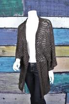 Josie Natori Brown Kimono Sleeve Macrame Knit Duster Chunky Cardigan Swe... - $46.47