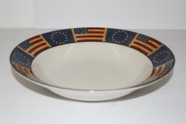 4 COVENTRY LIBERTY RIM SOUP CEREAL BOWLS STARS FLAG PATRIOTIC STONEWARE - $28.60