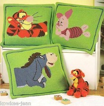 Disney pooh pillow afghan sets knitting pattern booklet Cuddle & Snooze ... - $28.34