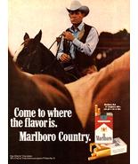 Cowboy Saddle Horses Marlboro Country Cigarettes Tobacco Ad 1971  - $10.99