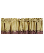 country farmhouse tan burgundy plaid Checkerberry Scalloped Layered VALANCE - $37.95