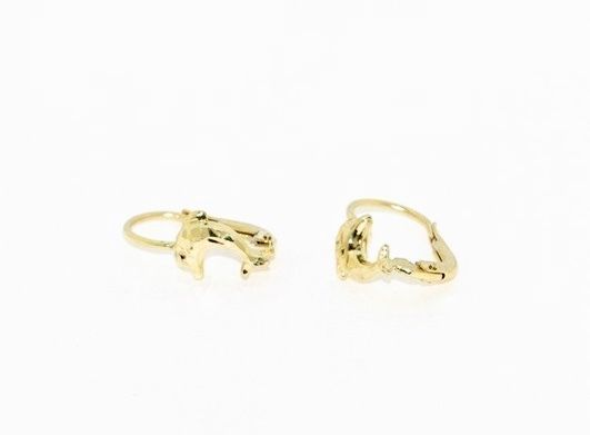 18K YELLOW GOLD EARRINGS WITH VERY SHINY DOLPHIN  WORKED MADE IN ITALY 0.59 IN