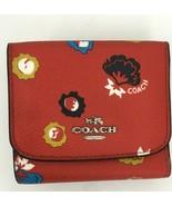 Coach Wallet Wild Prairie Coated Canvas & Leather Carmine  Red Orange 53... - $89.09