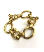Vintage Gold Tone Mod Metal Panel Link Bracelet Geometric Atomic - $8.90
