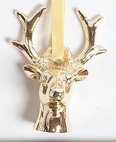 Gold Colored Metal Stag Ornament