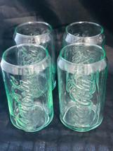 Coca-Cola Coke Can Green Tint Vintage 12 0Z Glasses (4) - $30.96