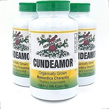 Organically Grown Bitter Melon Extract  (3 Bottles, Cundeamor - 100mg 300Caps)