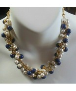 Blue Bead and Faux Pearl Dangle Cluster Chain Necklace - $18.81