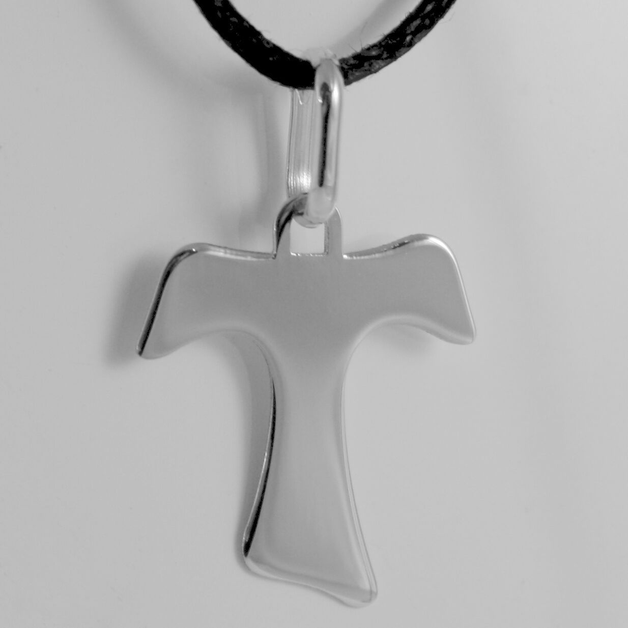 18K WHITE GOLD CROSS, FRANCISCAN TAU TAO, SAINT FRANCIS, 1 inches MADE IN ITALY
