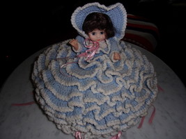 Blue & white dress COLLECTION DOLL By Bettie L. Carter Part of a decor - $50.00