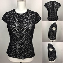 Liz Claiborne Black Lace Shortsleeve Zippered Pullover Top w Capsleeves ... - $14.01