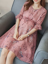 Maternity Dress Chic Floral V Neck Flare Sleeve Ruffles Loose Chiffon Dress image 3
