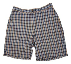 John Ashford Men's Plaid Casual Shorts Size 32 Flat Front 4 Pockets - $10.69