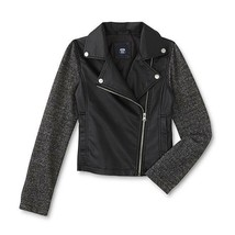 NWT ROUTE 66 Girls Black Moto Faux Leather Jacket Soft Marled Sleeves XL - $21.77