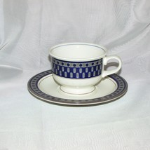 MIKASA POTTER'S TOUCH AZTEC COFFEE CUP & SAUCER CB009 BLUE GREY STONEWARE - $7.83
