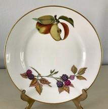 """Evesham Gold Bread Plate Fine Porcelain Royal Worcester Fruit Gold Trim 6-3/4"""" a - $6.42"""