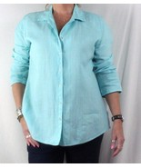 J Jill M size Snap Front Linen Blouse Light Blue Easy Wear Womens Tunic Top - $21.09