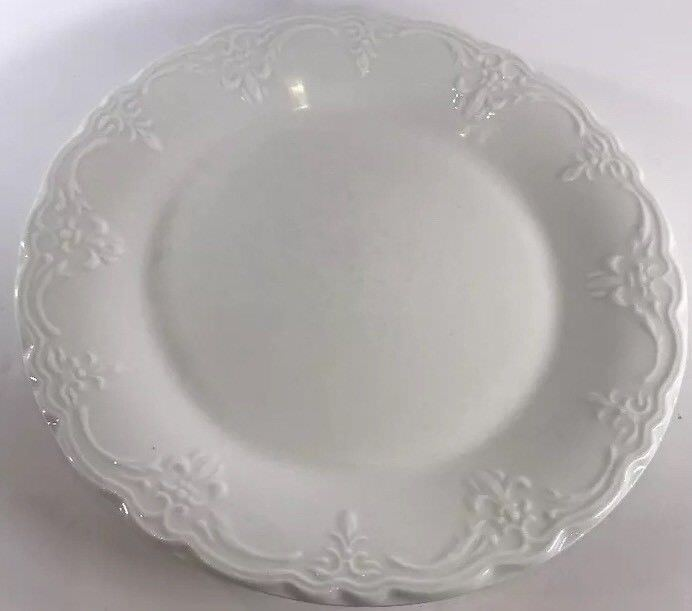 VERSAILLES  Tabletops Unlimited White Dinnerware Collection (Embossed) & VERSAILLES
