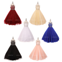 Halter Style Rhinestones and Sequins Bodice Tulle Skirt Corset Back Girl... - $150.00+