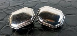 Vintage 1960's Silver Rectangle Clip-On Earrings (Cufflink Style) - $2.82