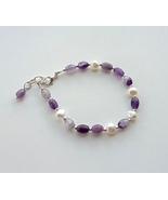 bracelet amethyst, freshwater pearls. - $20.80