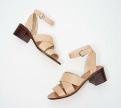 Marc Fisher Leather Block Heeled Sandals - Omela Camel 9 M - $59.39