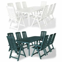 vidaXL 9 Piece Outdoor Dining Set Plastic Garden Furniture Set Green/White - $526.99