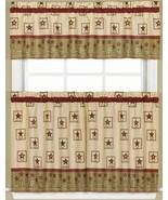 "3pc. Curtains Set: 2 Tiers (29""x36"") & Valance (58""x13"") AMERICANA, TAN ... - $21.77"