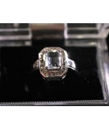Glamorous - Aquamarine and 14K White Gold Ring with Diamond Accents - $195.00