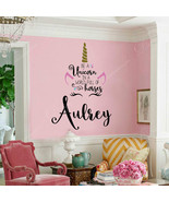 Wall Stickers Vinyl Home Decor Kids Girls Room Personalized Name Unicorn... - $15.82+