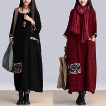 Vintage Women Crew Neck Floral Patch Cotton Casual Loose Kaftan Long Max... - $34.68