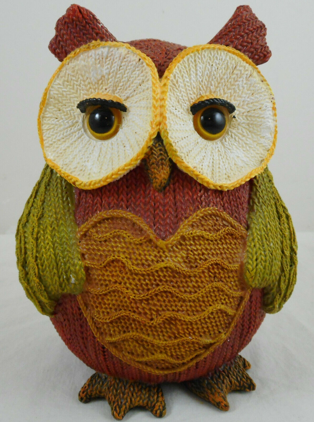 """Multi Color Resin Owl Knitted Look Knit Figurine 6"""" Fall Decoration Heart"""