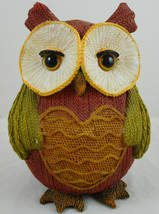 "Multi Color Resin Owl Knitted Look Knit Figurine 6"" Fall Decoration Heart - $16.82"