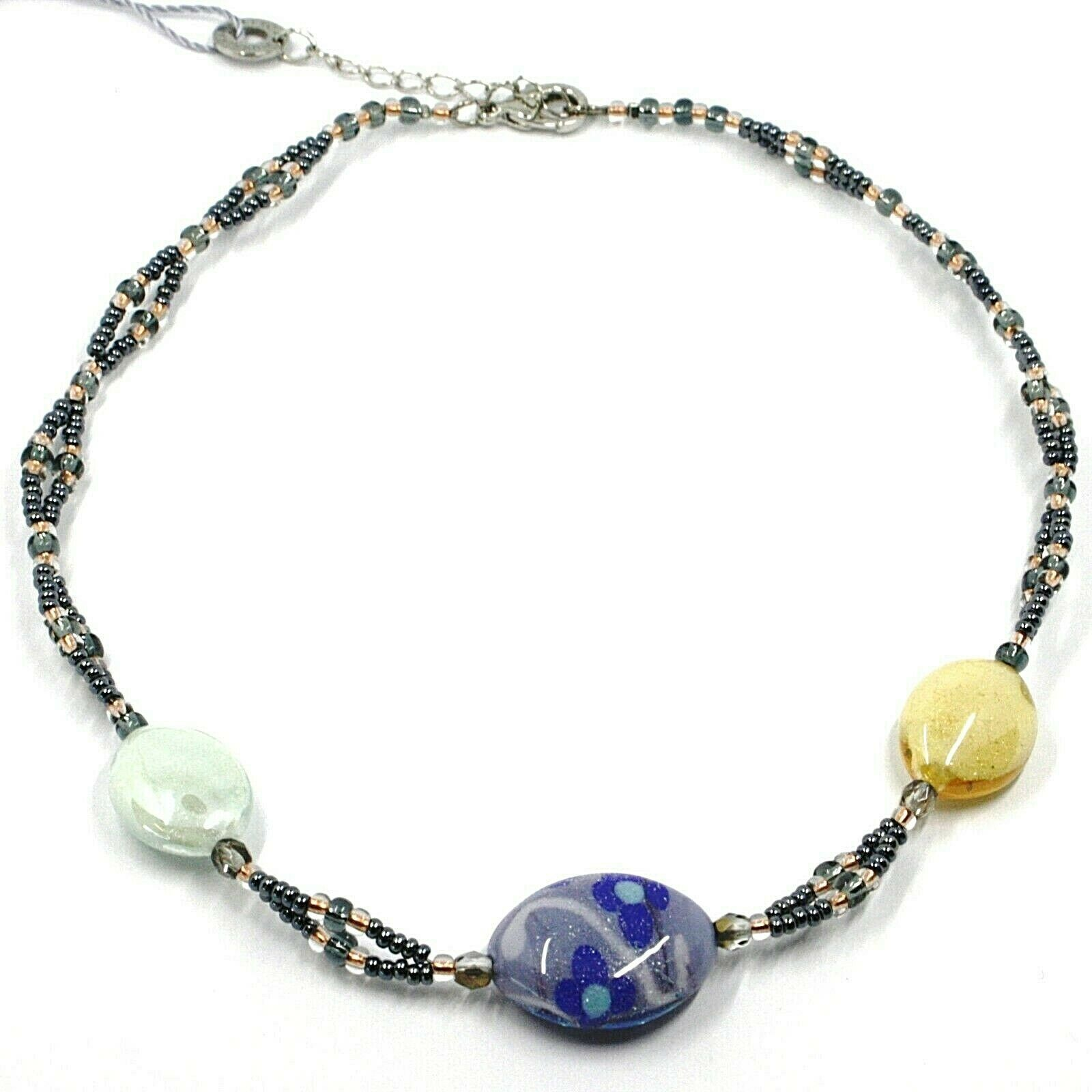 Necklace Antica Murrina Venezia, CO997A19, Ovals Blue Green Yellow, with Flowers