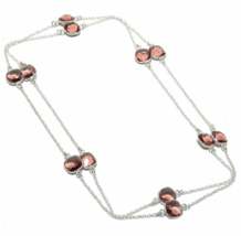 "Pink Amethyst Gemstone 925 Sterling Silver Stamped Jewelry Necklace 36"" - $24.99"