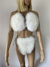 Fox Fur Bikini Double Sided Fur Two Pieces Bikini Top And Panties Pure W... - $215.00+