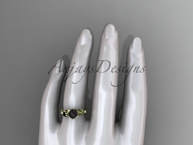 Yellow gold engagement ring with leaves and flowers, 14kt yellow diamond round t