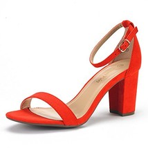 DREAM PAIRS Women's Chunk Red Suede Low Heel Pump Sandals - 5 M US - $35.14