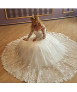 White Full Long Sleeve Lace Pricess Wedding Dresses Plus Size Women Brid... - $210.00
