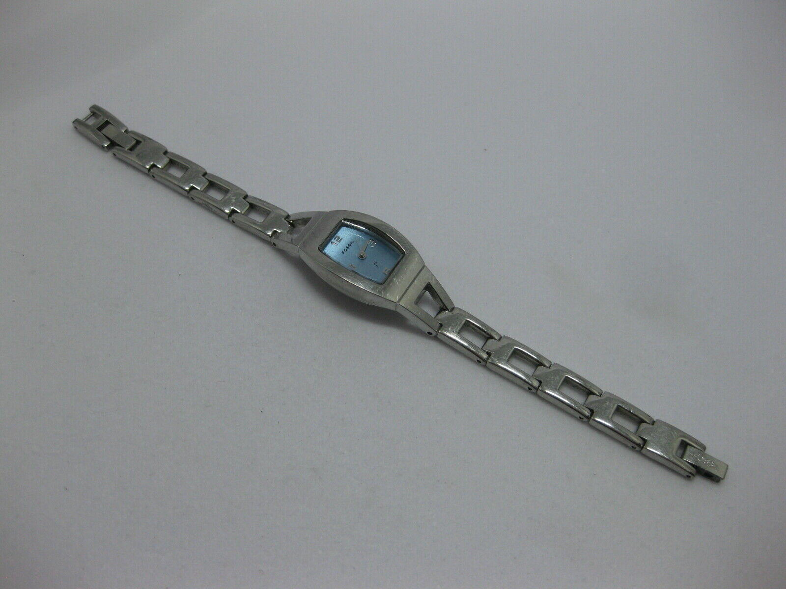 "Primary image for Fossil F2 Silver Tone Ladies Bracelet Watch with Blue Face 6.25"" w/ Fresh Batter"