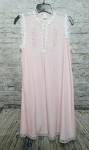 Vintage Chevette Nightgown Pink Sheer Sleeveless Hand Embroidered Size M... - $34.82