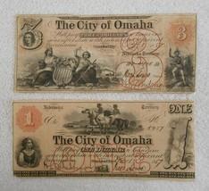 1857 $1 & $3 The City of Omaha - Omaha City, NEBRASKA (Territory) Notes  - $264.59