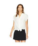 Nicole Miller Women's Solid Silk Button Down Shirt, Ivory, P - $98.99