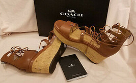 Coach Platform Strappy Sandals Sz9.5B Brown Leather - $99.95