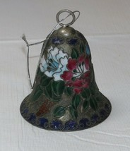 Cloisonné Red White Flowers w/ Green Leaves Bell Ornament with Clapper RARE - $18.73