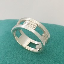 Tiffany & Co Sterling Silver Mens Unisex 1837 Stensil Cutout Ring Size 12.5 - $299.00